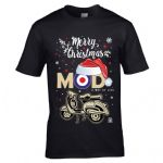 Premium Retro Christmas Santa Hat MOD Target Retro Scooter Rider Old School Mens Xmas T-Shirt Top